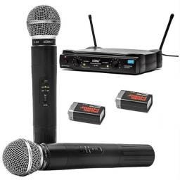 Microfone Uhf sem fio duplo