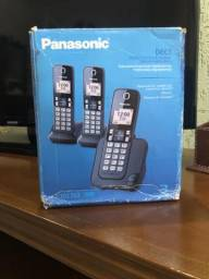 Telefone Panasonic 1 base+ 2 ramais, sem fio, Produto Novo