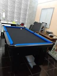 Mesa de Bilhar Charme Preta Tx Tecido Preto Bordas Azul Modelo KHG4584
