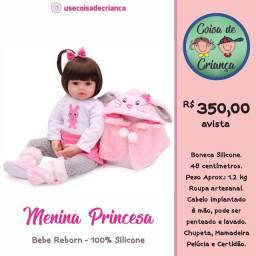 Bebê Boneca Reborn Menina Princesa 100% silicone 48 cm