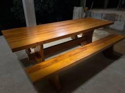 Conjunto Mesa rústica( madeira Peroba rosa)
