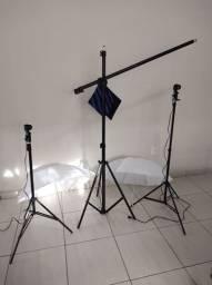 Kit iluminação estúdio profissional com tripé girafa