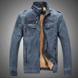 Jaqueta impermeável de couro sintético