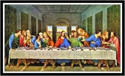 Título do anúncio: Quadro Decorativo Religiosos A Santa Ceia Jesus Com Moldura RC032