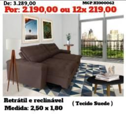 Sofa Retratil e Reclinavel 2,50 Molas e Suede Alto Padrão -Imperdival de Promoçã