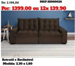 Sofa Retratil e Reclinavel 2,30 em Molas e Suede-Sofa Grande- Imperdivel Campo Grande