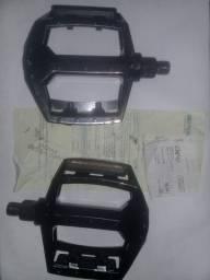 Pedal de Bicicleta Plataforma Preto Alumínio Preto 1/2 Rosca Fina (novo com nota fiscal)