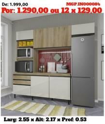 Armario de Cozinha - Cozinha Compactada com Balcão Lindissima- Barato Ms
