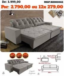 Liquida Sofas- Sofa Retratil e Reclinavel 2,80 em Veludo, Molas, Bordados, Sofa Grande