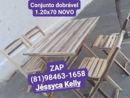 Conjunto dobrável mesa 1.20x70 NOVO ZAP *