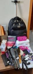 Kit completo cabeleireira (o) com mochila de rodinhas