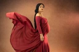 Título do anúncio: Vestido gestante Marsala