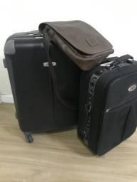 2 malas e 1 bolsa de couro novinha