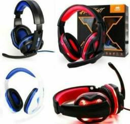 Fone headset gamer led microfone + adaptador celular kp-396