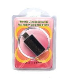 Título do anúncio: Adaptador Placa De Som Usb 7.1 P/ Entrada P2 Fone e Microfone no Pc Novo na Embalagem