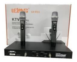Microfone Sem Fio Profissional Duplo Uhf Digital Le 911