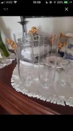 Jogo com 10 taças de cristal