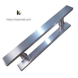 Puxador Porta Plano Escovado 30cm Total X 20cm Entre Furos