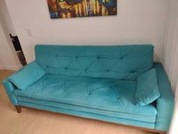 Título do anúncio: Sofá azul turquesa Suede 2,08 x 0,86