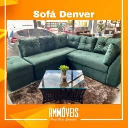 Sofá Versátil Denver com Almofadas + Puff - Entrega Grátis!
