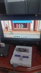 Super Nintendo com jogo Power Rangers the movie