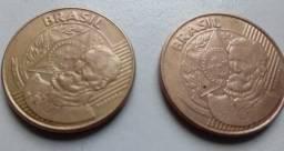 Duas Moedas 25 centavos reverso inclinado