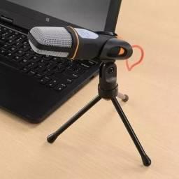 Microfone Condensador com Tripé para PC e Notebooks