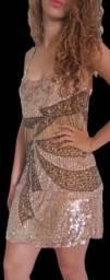 Vestido de Festa Elegants C/ Canutilhos E Paetes (em Promoção) 7125