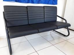 Sofa tubular 3 lugares para escritório Vianflex (leia a descrição) Dourados/MS