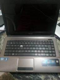 Notebook Asus, processador core i3, windows 7, hd 500