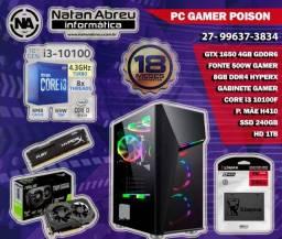 PC Gamer Intel 10ª Ger. Core i3 10100F + GTX 1650 + 8GB HyperX + SSD - Loja Natan Abreu