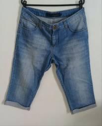 Bermuda/calça capri jeans cintura alta feminina cori