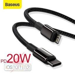 Cabo carregador original Baseus para iPhones USB-C x Lightining 20W