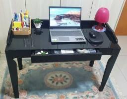 Título do anúncio: Mesa/escrivaninha preta vidro com gaveta Tok Stok