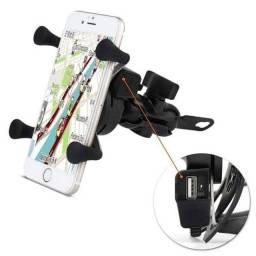Suporte de celular para moto com carregador