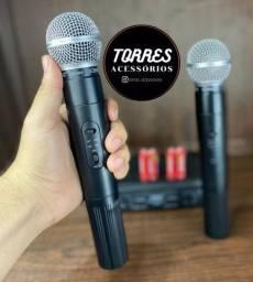 Microfone Duplo Sem fio Profissional