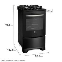 Fogão 4 bocas eletrolux preto automatico com mesa de vidro e porta full glass (embalado)