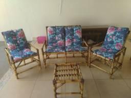 Conjunto de poltronas cadeiras bambu cana da Índia