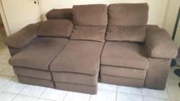 sofá 3 lug retrátil/reclinável em suede / cor tabaco - parcelo no cartão