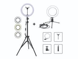 Kit Studio Anel Luz Ring Light 26cm regulável 3 tons USB + Tripé até 2,0m