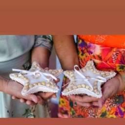 Porta alianças*estrela do mar* vestido de noiva,terno completo e acessórios