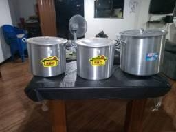 3 caldeirões de alumínio