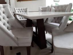 Mesa madeira com tampo de vidro off white +6 poltronas rússia