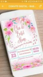 Convite digital Whatsapp chá de baby chá rosa
