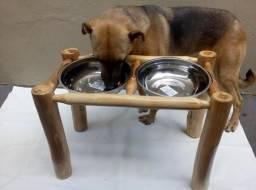 Comedouro Bebedouro Pet Em Madeira Cães Gatos Animais de Estimação