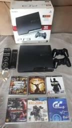 PS3 Slim bloqueado, 2 controles, Jogos e Acessorios