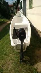 Canoa de fibra com motor de popa 2 tempos Mercury 3.3 hp - 2005