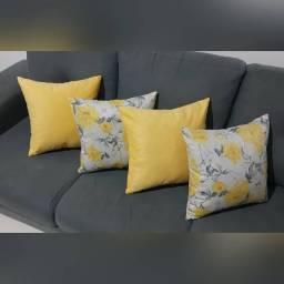 Almofadas em Veludo e Suede - Amarelo / Floral