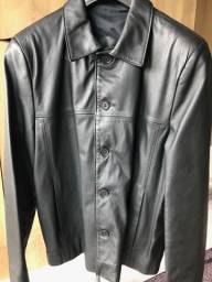 Título do anúncio: Casaco de couro legítimo preto tamanho G
