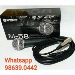 Microfone Profissional M58 + Cabo 5m (Novo, aceito cartão)